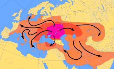 Scheme of Indo-European migrations from ca. 4000 to 1000 BCE, according to the Kurgan hypothesis.