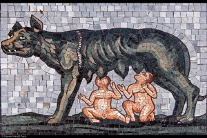 Romulus and Remus. Mosaic from the floor of the Milan Duomo