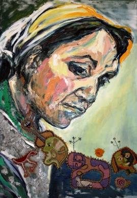 © Dulce vecina de la verde selva - Violeta Parra -Mix Technique -  Claudia Martínez. 2011 - http://www.claudiamartinez pintura.blogspot.com.ar/