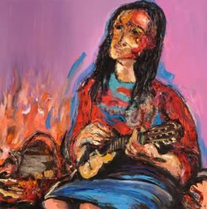 Violeta Parra - Paint technique mix - Claudia Martínez - 1.00 x 1.00 m.