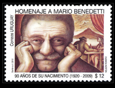 Stamp made by the Dirección Nacional de Correos del Uruguay, the Uruguayan national postal office, to celebrate Mario Benedetti's 90th birthday.