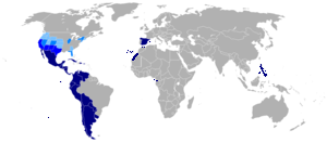 The Spanish speaking world highlighted in blue colour ©BernardaAlba