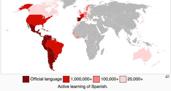 Map of active learning of Spanish language in the world  © Addicted04