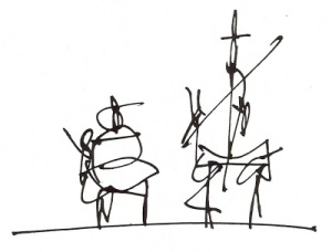 Antonio Saura (1930-1998), one of the most relevant representatives of the abstract expressionism, illustrated a new edition  of Don Quixote, merging the narration with his own symbolic universe, in 1987.