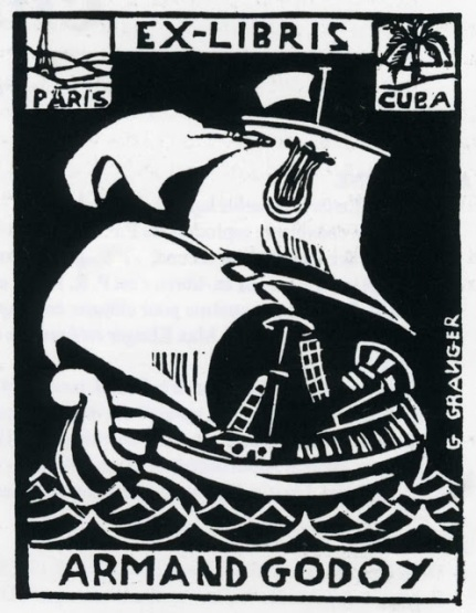 Ex-libris by G. Granger of the Cuban poet and writer Armand Godoy (La Habana 1880 - Paris 1964), who wrote most of his books in French and lived for a long period in France.