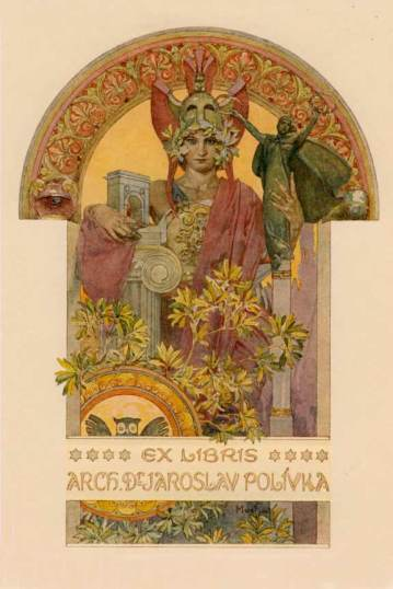 Ex libris, art nouveau design by Alphons Mucha, for the Architect  Dr. Jaroslav Polivka