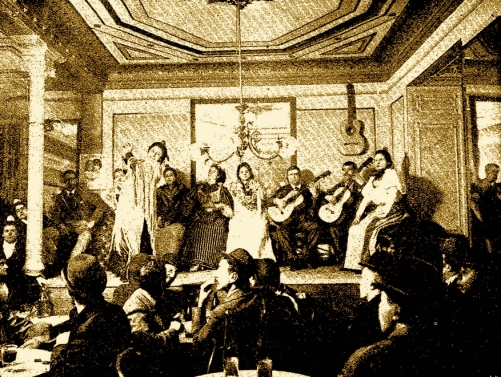 Illustration of a café cantante in Madrid