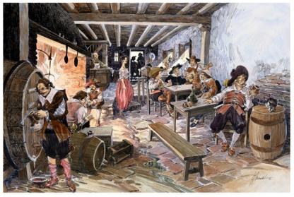 Marimorena en una taberna